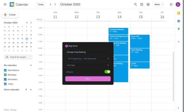 Start the timer in Google Calendar