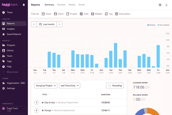 View and export time reports in Toggl Track's web app