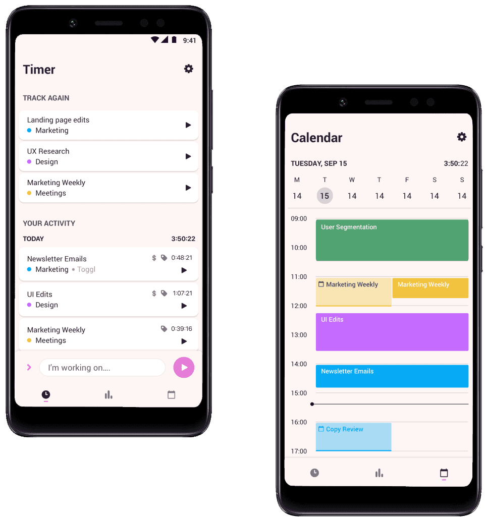 Screenshots of Toggl Track Android app