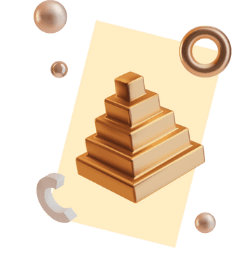 3D illustration of a pyramid, surrounded by random shapes