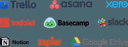 Tools: Trello, Asana, Todoist, Google Drive, Basecamp, Notion, Xero, Zapier, Slack