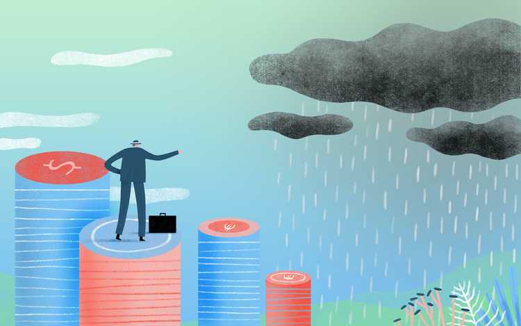 Illustration of businessman looking at a bad storm