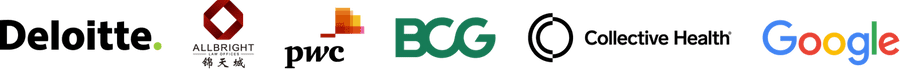 Company logos: Deloitte, AllBright Law Offices, PwC, BCG, Collective Health, Google
