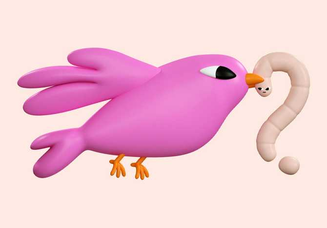 3D illustration of a pink bird carrying a worm in its beak