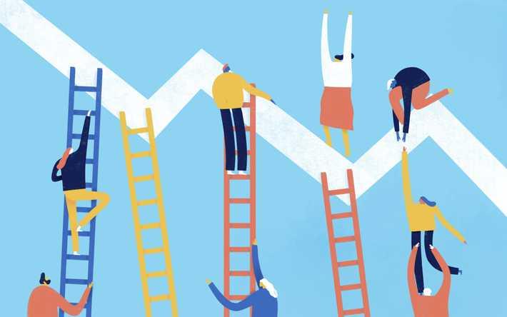 Illustration of team working together on ladders