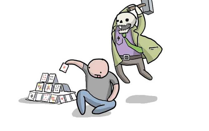 Illustration of skeleton carrying a hammer and jumping on a random person playing with cards