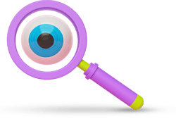 3D illustration of a magnifying glass with an eye