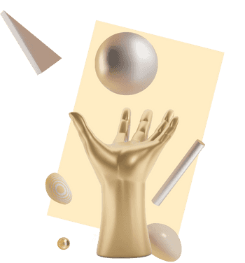 3D illustration of a hand carrying a ball, surrounded by random shapes