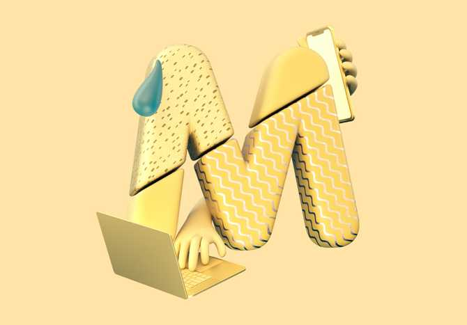 3D illustration of the letter M, with hands holding a phone and working on a computer