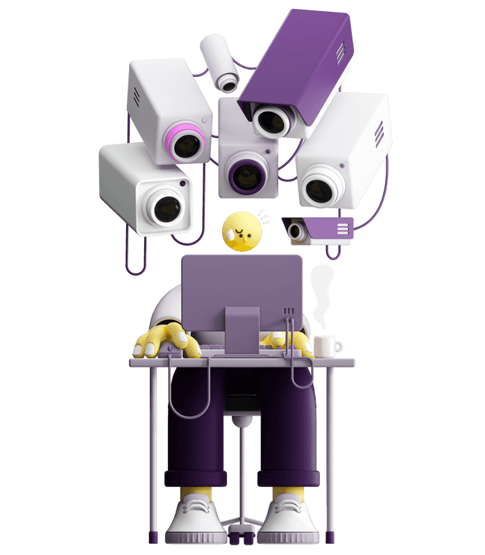 3D illustration of many video cameras pointing at one character