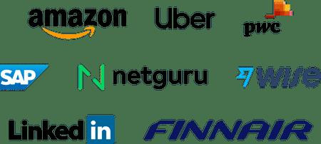 Company logos: Amazon, Uber, PWC, SAP, Netguru, Wise, LinkedIn, Finnair