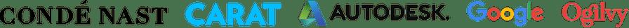 Company logos: Condé Nast, Carat, Autodesk, Google, Ogilvy