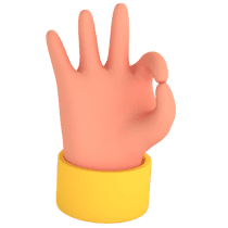 3D Illustration of a hand doing the OK sign