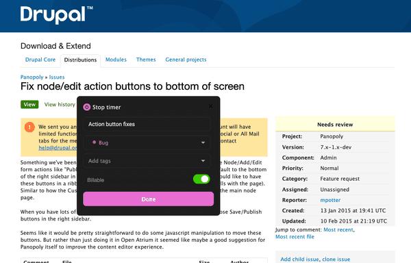 Start the timer in Drupal