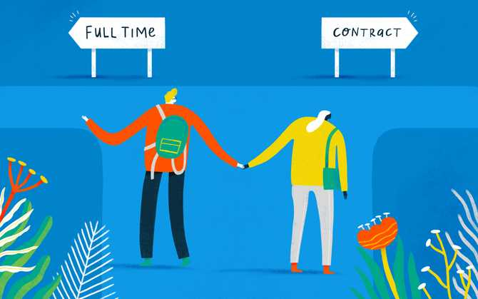 "Illustration of employees choosing the ""full time"" path or ""contract"" path"