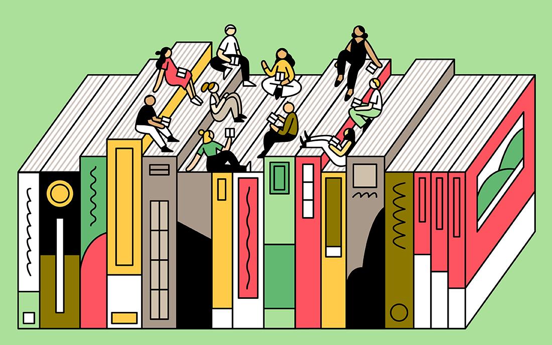 Illustration of team members sitting on books