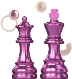 3D illustration of 2 chess pieces, surrounded by random shapes