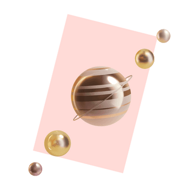 3D illustration of a planet and 4 metal balls in a line, the planet in the center
