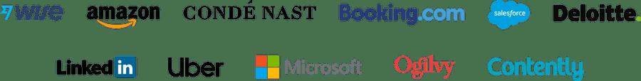 Company logos: Adobe, Amazon, Conde Nast, Booking.com, Salesforce, Deloitte, LinkedIn, Stanford University, Microsoft, Ogilvy, Contently