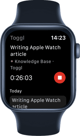 Screenshot of timer running in Toggl Track watchOS