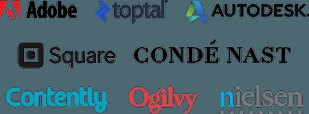 Company logos: Adobe, Toptal, Autodesk, Square, Conde Nast, Contently, Ogilvy, Nielsen