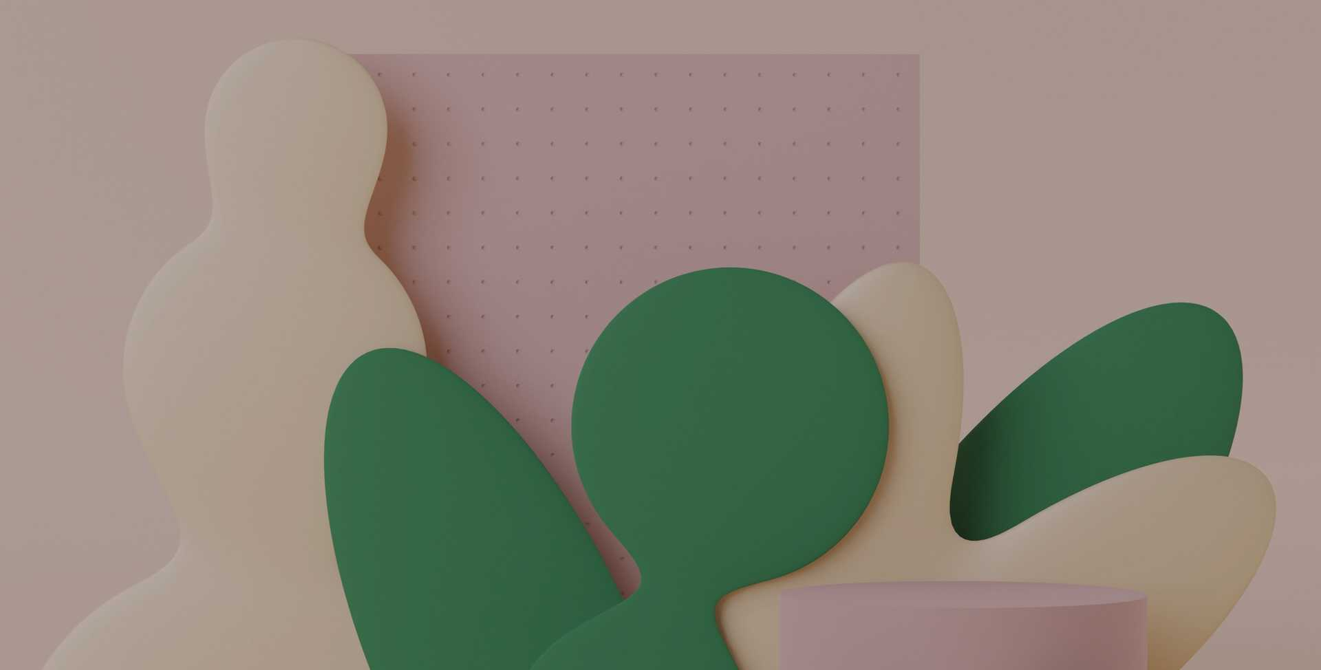 3D rendering of green and beige shapes against a beige backdrop representing a sense of calm reflection