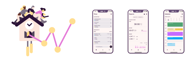 Toggl Track mobile app with illustration