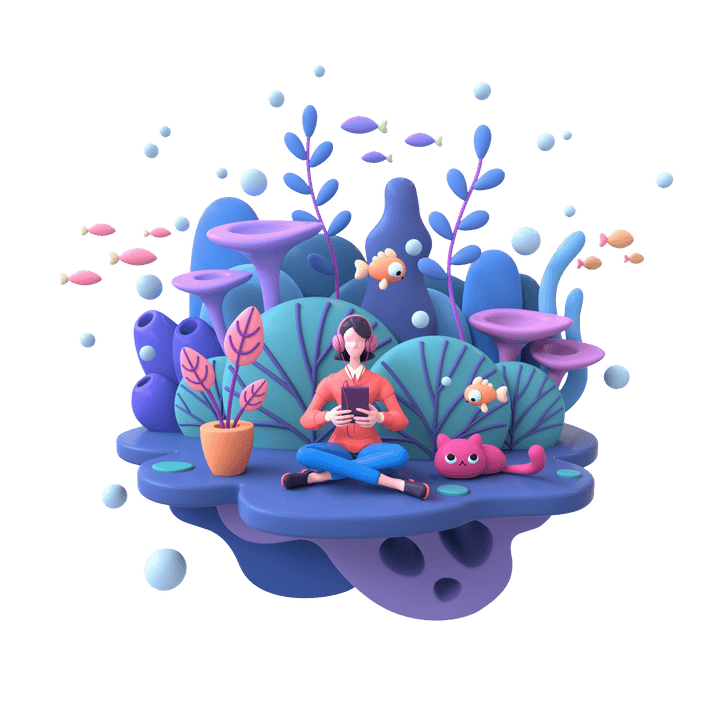 Surreal 3D illustration of a person wearing headphones plugged into a digital tablet, sitting in an underwater garden, surrounded by air bubbles, fish, kelp, coral and a cat