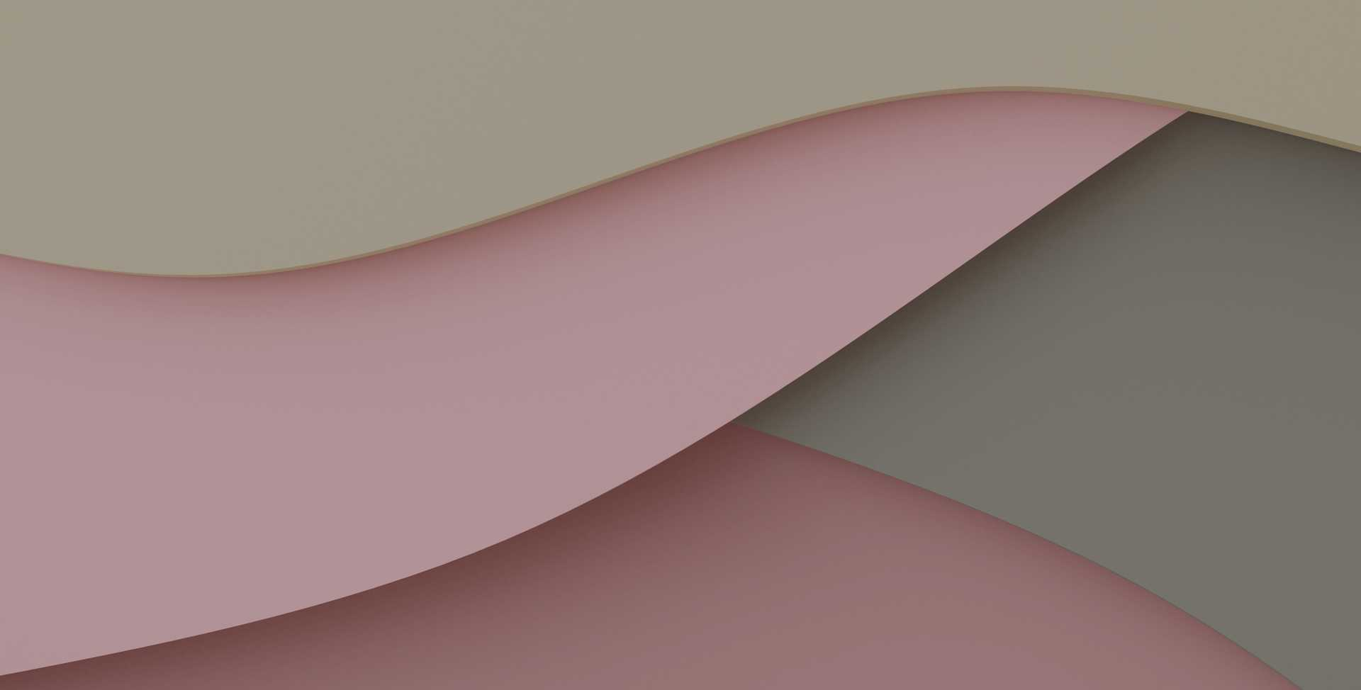 Abstract rendering of overlapping pink, green and beige waves resembling a flow