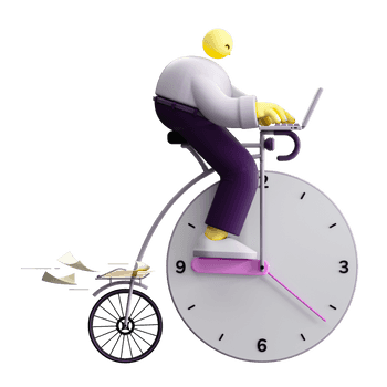3D illustration of a character riding a bicycle. One of the wheels also resembles a clock.