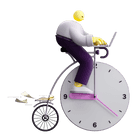 3D illustration of a clock, sandclock, calendar and a mobile phone