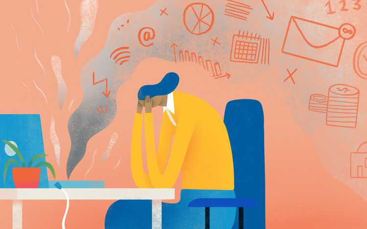 Illustration of woman stressing out with a laptop burning up