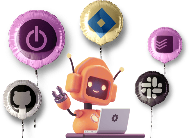 A cute bot surrounded by balloons with logos of apps Toggl Track integrations with: Jira, Slack, GitHub, Todoist
