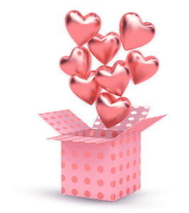 3D illustration of a box of hearts
