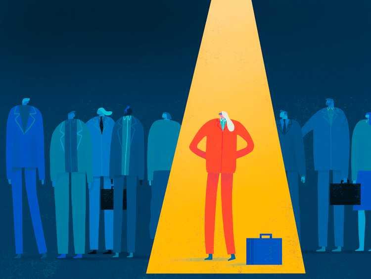 Illustration of a character under a spotlight