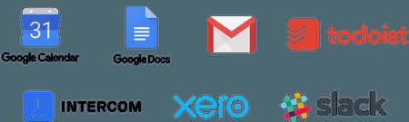 Tools: Google Calendar, Google Docs, GMail, Todoist, Intercom, Xero, Slack