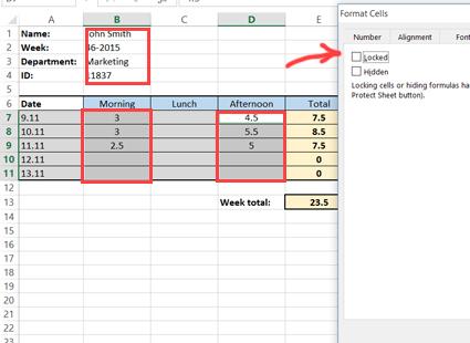 Locking timesheet cells for editing