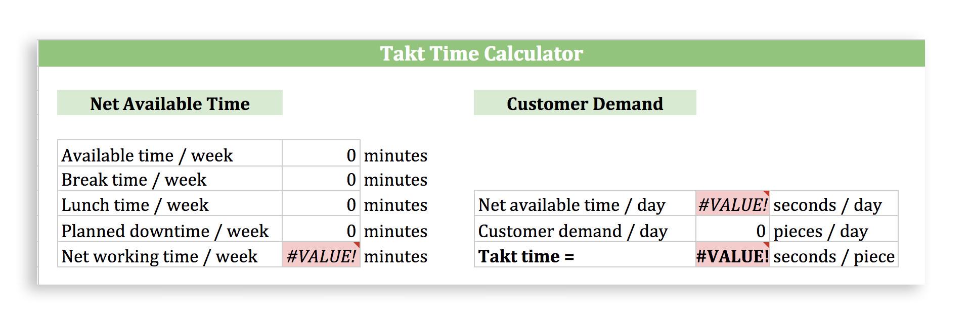 Takt Time Calculator
