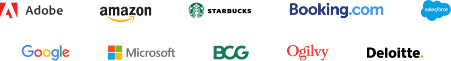Company logos: Adobe, Amazon, Starbucks, Booking.com, Salesforce, Google, Microsoft, BCG, Ogilvy, Deloitte