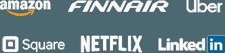 Company logos: Amazon, Finnair, Uber, Square, Netflix, LinkedIn