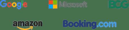 Company logos: Google, Microsoft, BCG, Amazon, Booking.com
