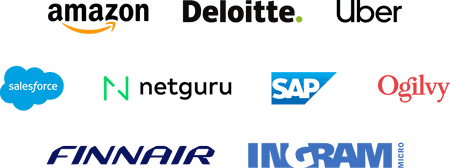 Company logos: Amazon, Deloitte, Uber, Salesforce, Netguru, SAP, Ogilvy, Finnair, Ingram Micro