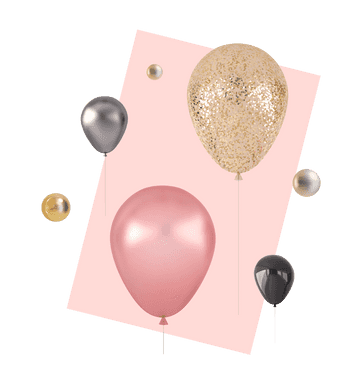 3D illustration of 4 balloons, surrounded by metal balls