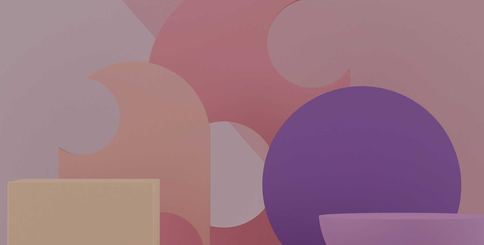 Abstract image full of rounded and angular shapes in yellow, pink, purple and white against a light purple backdrop