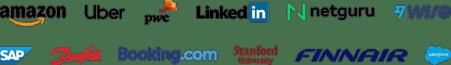 Company logos: Amazon, Uber, PWC, LinkedIn, Netguru, Wise, SAP, Danfoss, Booking.com, BCG, Finnair, Salesforce