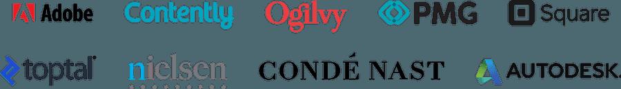 Company logos: Adobe, Contently, Ogilvy, PMG, Square, Toptal, Nielsen, Conde Nast, Autodesk