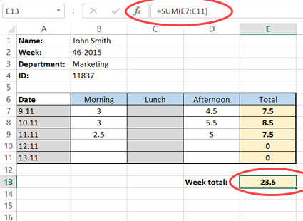 Calculating weekly total working hours